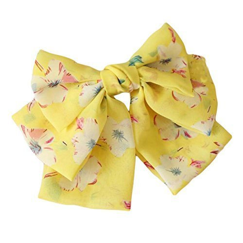Yellow Cute Handmade Hair Barrette Chiffon Hair Pin Multi-layer Big Bowknot 9.4""