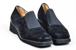 Salvatore Ferragamo Black Suede Slip On Loafer Wedges SZ 9 - $75.83 CAD