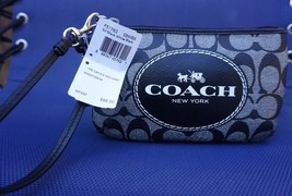 Coach Signature Black & White Horse & Carriage Wristlet Wallet F51783 - $69.29