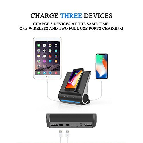 Azpen Dockall D100 - Qi Wireless Charger, Bluetooth Premium Speakers, Docking