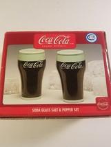 coca cola soda glass salt pepper shaker set new in box  - $16.00