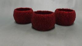 Red Beaded Napkin Rings - $10.99