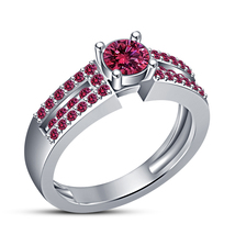White Gold Plated 925 Sterling Silver Round Cut Pink Sapphire Engagement... - $78.99