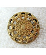 "Older Gold Tone Metal Button Open Work Lace Dial Just Over 5/8"" B14 - $4.46"