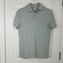 Gap Mens XS Lived In Polo Grey White Stripes Short Sleeve 100% Cotton  - $14.85