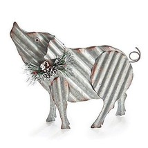 Burton and Burton 9733880 Corrugated Tin Pig with Greenery Accents, Mult... - $49.98