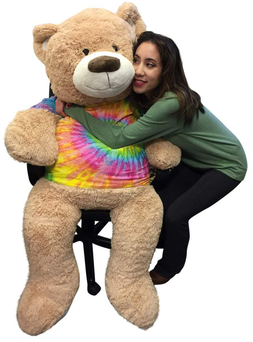Big Plush Giant 5 Foot Teddy Bear Soft Ultra Premium Quality Wears Tie Dye Shirt