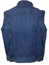 Wacky Jeans Men's Classic Premium Cotton Button Up Denim Jean Vest Blue image 2