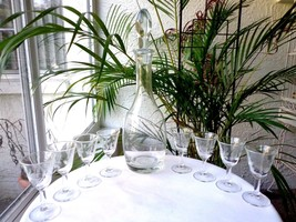 Clear Glass Floral Etched Liquor Decanter & 8 Matching Glasses - $39.60