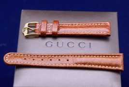 New Gucci 17 MM Piped Padded Leather Watch Band - 17035 - Brown - $32.95