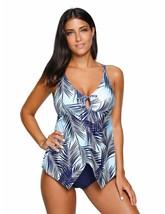 Utyful Women's Navy Blue Leaf Print Crisscross Back One-Piece Swimsuit Swimwear - $24.54