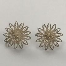 Vintage Filagree Wire Screw Back Earrings Silver Tone Metal Floral VTG E... - $39.60