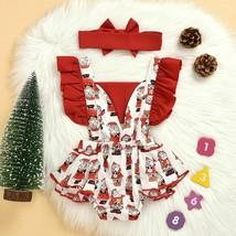 Xmas Toddler Baby Girls Fly Sleeve Ruched Patchwork Santa Bodysuit Headb... - $19.99