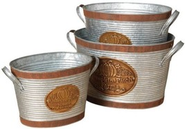 9.75 in Pumpkin Patch Farms Buckets Set of 3 Indoor Fall Holiday Decor A... - £68.78 GBP