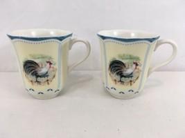 Lenox Provencal Garden Rooster Set of 2 Tea Coffee Cups Mugs (2) - $18.81