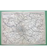 1907 MAP ORIGINAL Baedeker - Paris & Environs France - $5.07