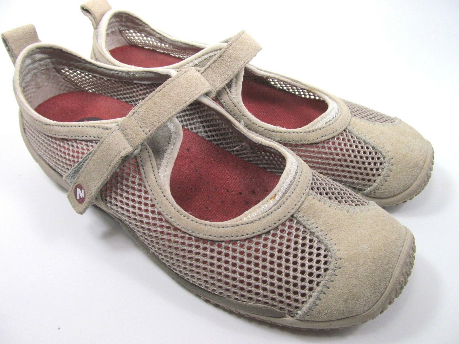 Merrell Taupe Womens Mesh Shoes Size 7.5 M Grey Suede Mary Jane Shoes