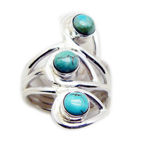 inviting Turquoise 925 Sterling Silver Multi Ring genuine Designer US - $29.69