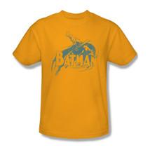 Batman T-shirt distressed retro superhero DC comics gold 100% cotton tee BM1959 image 1