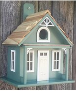 "8.75"" Fully Functional Green and White Santa Cruz Cottage Outdoor Garden... - $74.74"
