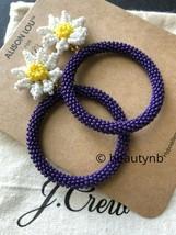 NWT J Crew Authentic Alison Lou X J.Crew beaded daisy drop-hoop earrings - $36.99