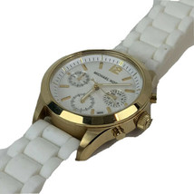Michael Kors Gold Tone White Silicone Watch Wristwatch Needs Battery - $74.76