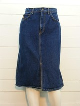 """HUNT CLUB Jean Skirt Blue Denim Front Slit Mid Calf, Sz 9 - W26"""" x L26"""" - $14.73"""