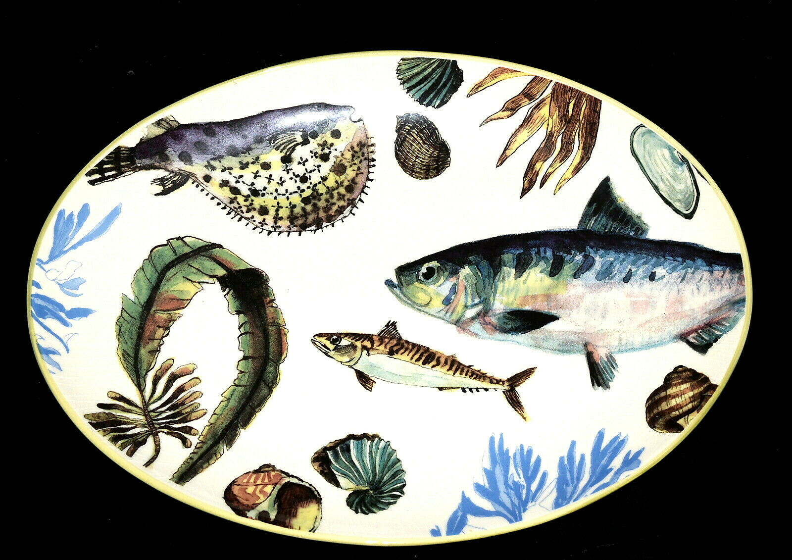 """**HEAVY CRAZING Williams Sonoma Poisson LARGE OVAL PLATTER 19.5"""", Colorful Fish - $54.44"""