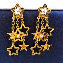 Swarovski Crystal Patriotic Star Dangle Earrings with Swan Symbol  - $49.00