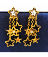 Swarovski Crystal Patriotic Star Dangle Earrings with Swan Symbol  - $49.00