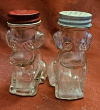 Antique Salt & Pepper Set Glass Dog COHODA'S Vineyards Inc. Geneva, Ohio