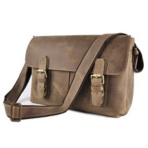 "Men Genuine Crazy Horse Leather Cowhide Vintage Crossbody 13"" Messenger Bag - $73.59"