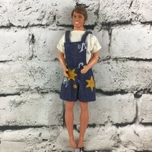 Vintage Ken Doll In Shirt & Overalls Brown Hair Blue Eyes Collectible Ma... - $19.79