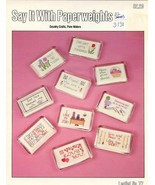 Say It With Paperweights Pat Waters Cross Stitch Pattern Leaflet 10 Designs - $2.67