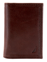 Nautica Men's Genuine Vintage Leather Credit Card Id Trifold Wallet image 12
