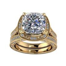 Cushion & Round Cut D/VVS1 Diamond Wedding Bridal Ring Set In 14K Yellow... - $118.99