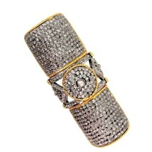 14k Gold Pave 5.72ct Diamond Armor Knuckle Ring 925 Silver Antique Style... - €1.065,68 EUR
