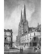 FRANCE Bordeaux Main Square & Cathedral - SUPERB 1843 Antique Print - $39.60