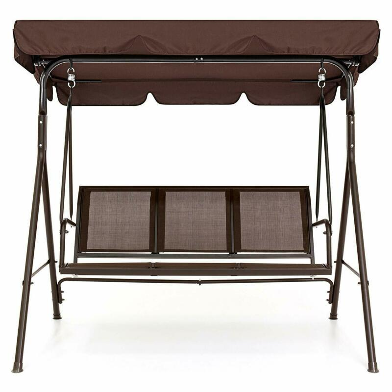 Modern 2-Person Swing Chair Convertible Canopy Outdoor Garden Patio Deck Bench