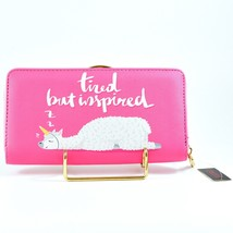 Bijorca Tired but Inspired Sleeping Llama Pink Clutch Wallet New w Tags image 2