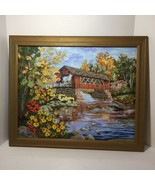 """Covered Bridge Finished and Framed Paint By Number 19.5"""" x 23.5"""" - $38.69"""
