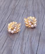 Vintage Crown Trifari Double Oak Leaf Faux Pearl Earrings, Alfred Philip - $44.00
