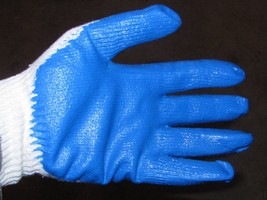 Ruber latex palm coated work Gloves Blue  10 pair trapping NEW SALE - $15.47
