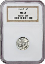 1949-S 10c NGC MS67 - Roosevelt Dime - $72.75