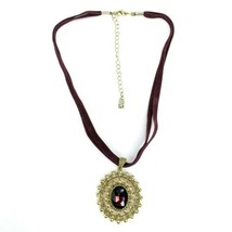 1928 Jewelry Brand Burgundy Velvet Faux Faceted Gem Pendant Goldtone Nec... - $19.39