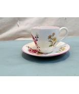 Vintage Marlborough Sprays by Spode Flat Demitasse Porcelain Cup and Saucer Set - $14.67