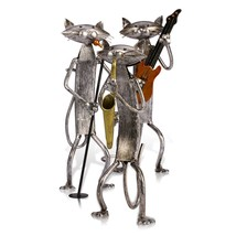 Collectible Cat Figurine Statue Animal Home Decoration Metal Instrument ... - $84.11
