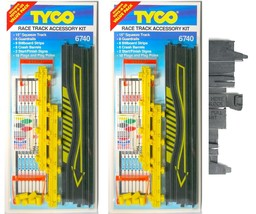2pc 1993 Tyco Slot Car Race Track Squeeze Flag Accessory Kit Nice Carded 6740 A+ - $14.84