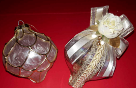 Set 2 - Large Glass Teardrop Christmas Ornament Gold Clear Cream Handmad... - $4.65