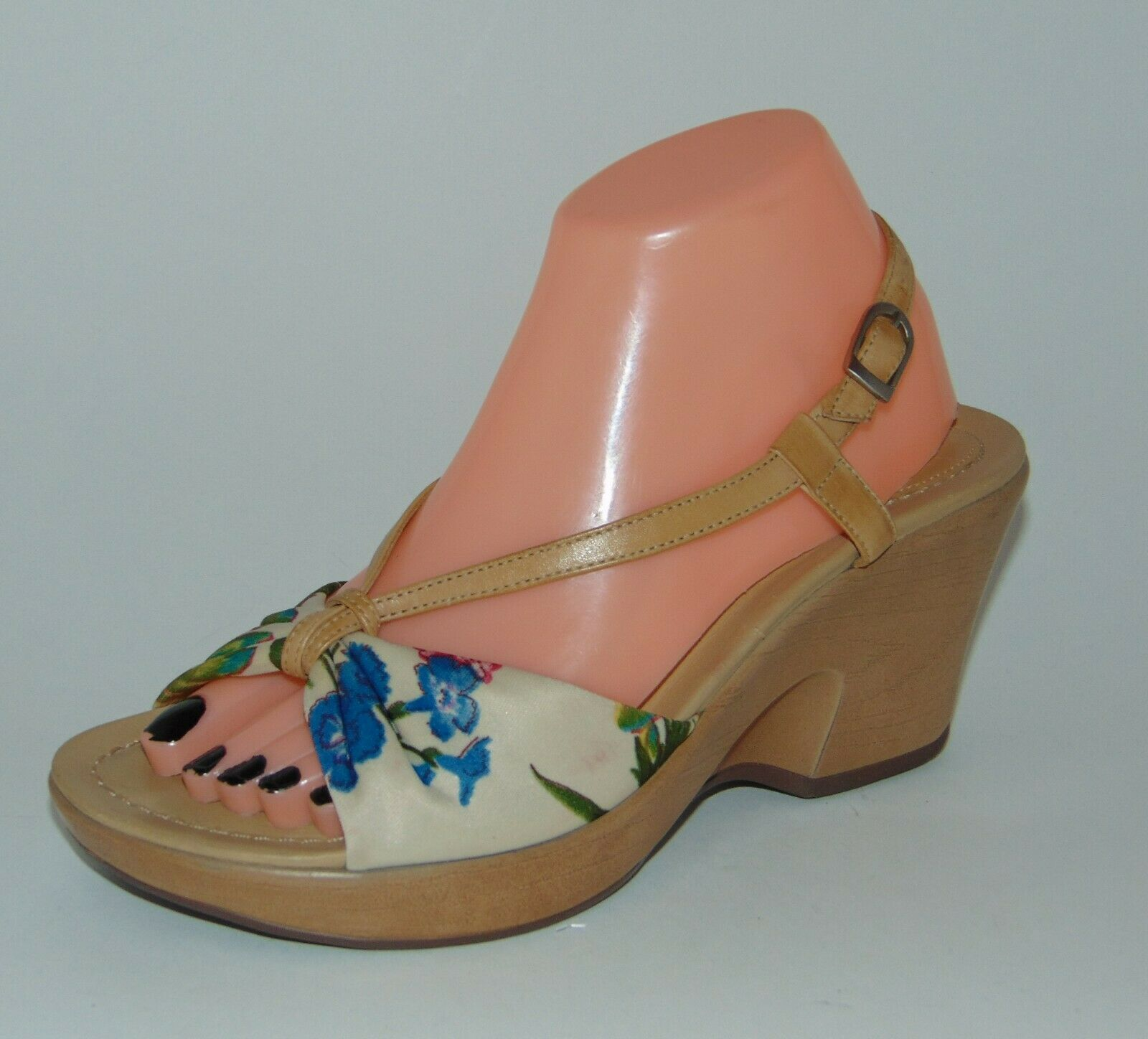 DANSKO Floral Fabric and Leather Sandals sz 38 7.5 - 8